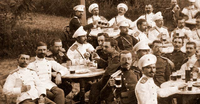 Bulgarian Officers Drinking Beer 1890