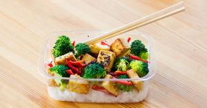 Boxed lunch: marinated tofu and broccoli